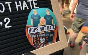 Our beer collaboration with Gipsy Hill - coaster saying 'Hops Not Hate'